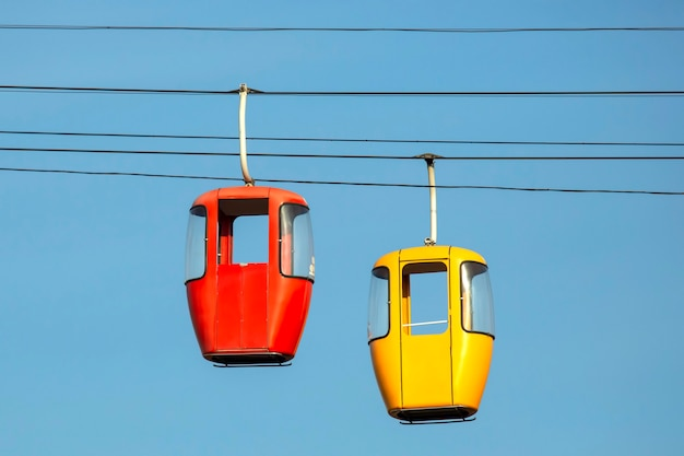 Two passenger cabins on the cable car