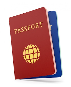 Two passports isolaed on white