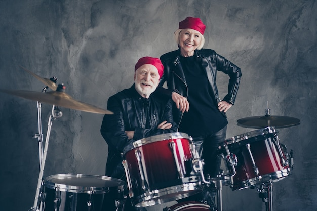 Two pensioners family cool aged lady man rock group