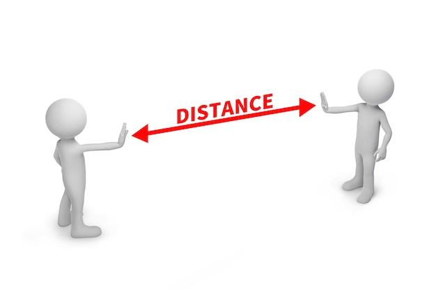 Two people standing distance with the word social distancing in between concept.