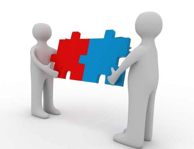 두 사람이 일치하는 퍼즐 조각