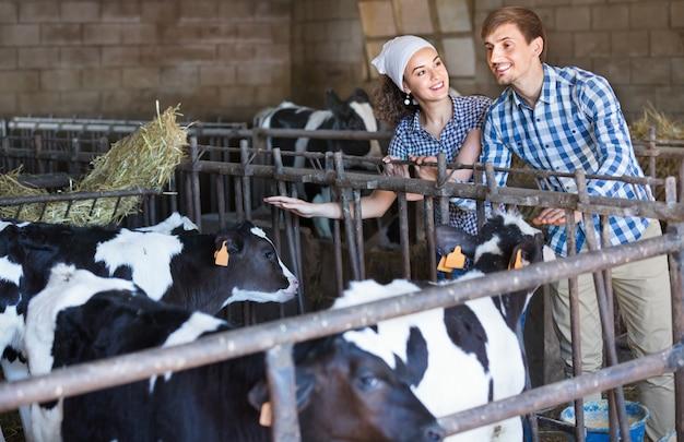 格納庫で牛をたたいて笑顔の2人