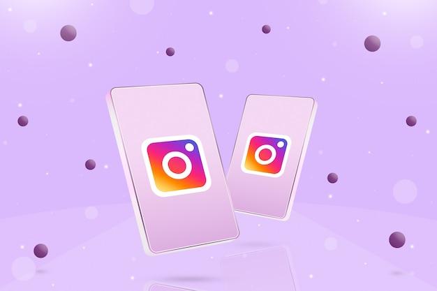 화면에 인스타그램 로고 아이콘이 있는 두 대의 전화기와 3d 주변의 공