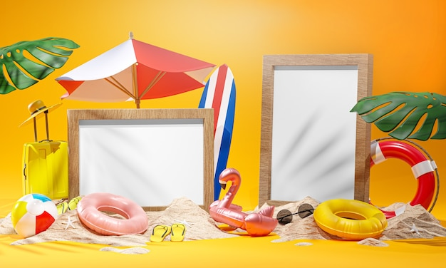 Two photo frame mockup summer beach accessories yellow background 3d rendering