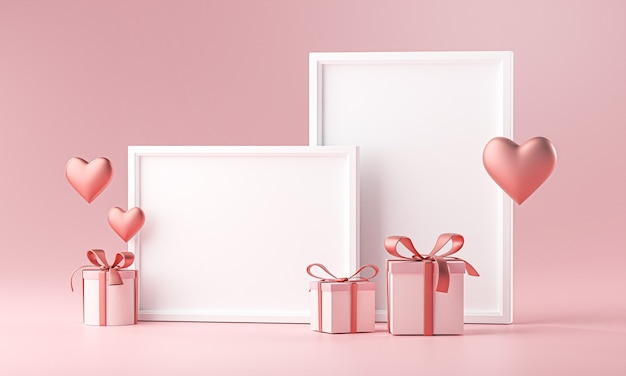 Two photo frame mockup template love heart ballon and gift box 3d rendering