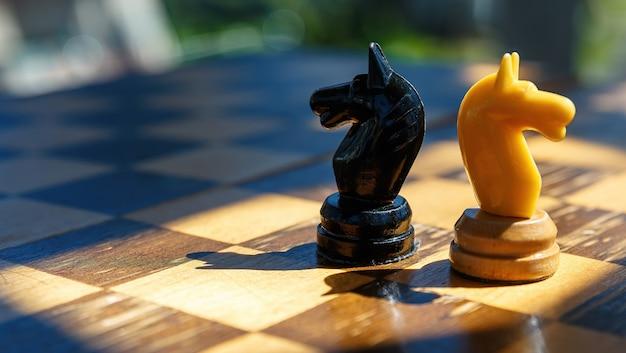 古いチェス盤のチェス騎士の2つの部分