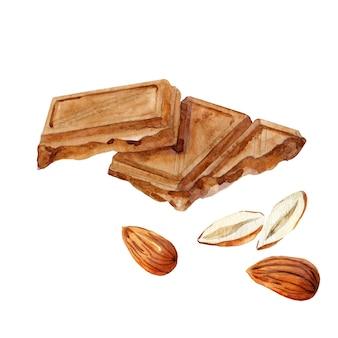 Два кусочка шоколада с миндальным орехом