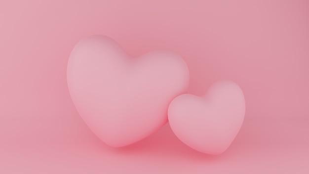 핑크 배경으로 두 핑크 하트입니다. 발렌타인 데이 개념. 3d 렌더링 그림.