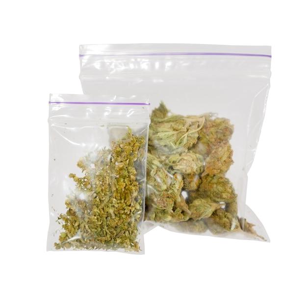 Two plastic bags of medicinal cannabis marijuana . high res image.