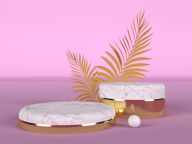 분홍색 배경에 두 개의 손바닥 잎이있는 흰색 대리석과 금색의 쇼케이스를위한 두 개의 연단. 뷰티 및 바디 케어의 개념