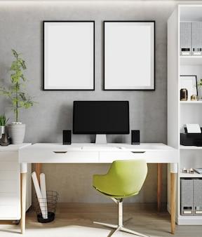 Two poster frame mock up in bright interior background, cabinet, scandinavian style, 3d render, 3d illustration