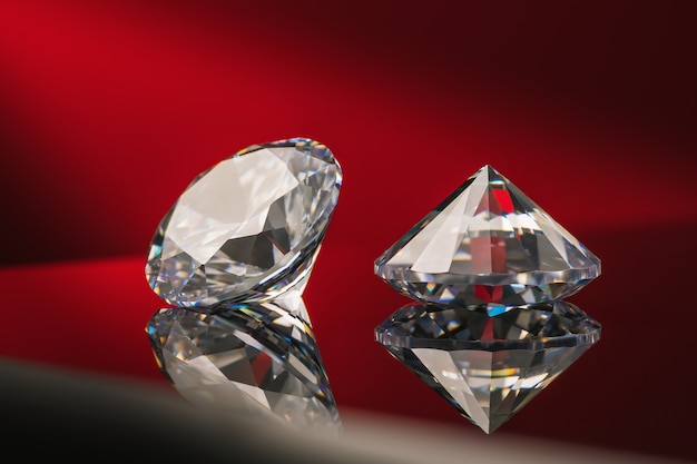 Two precious stones on a gradient surface