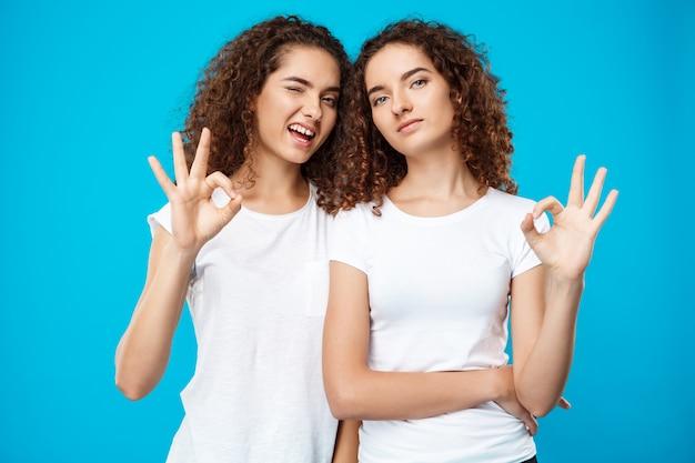 2つのかわいい女の子の双子の笑顔、青い壁に大丈夫を示す