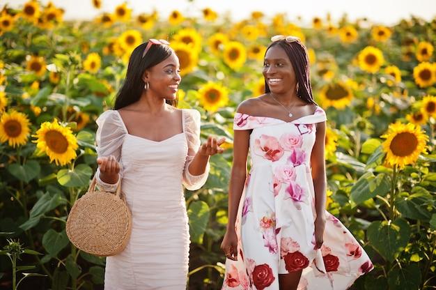 Две красивые молодые черные друзья женщины носят летнее платье позы в поле подсолнечника.