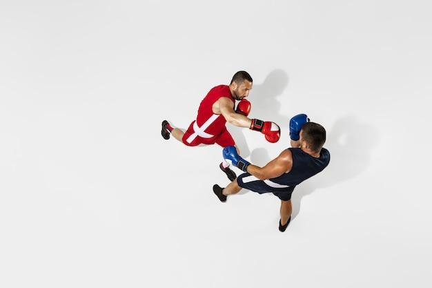 白いスタジオの背景、アクション、上面図に分離された2つのプロボクサーボクシング。健康な筋肉質の白人アスリートのカップルが戦っています。スポーツ、競争、興奮、人間の感情の概念。 Premium写真