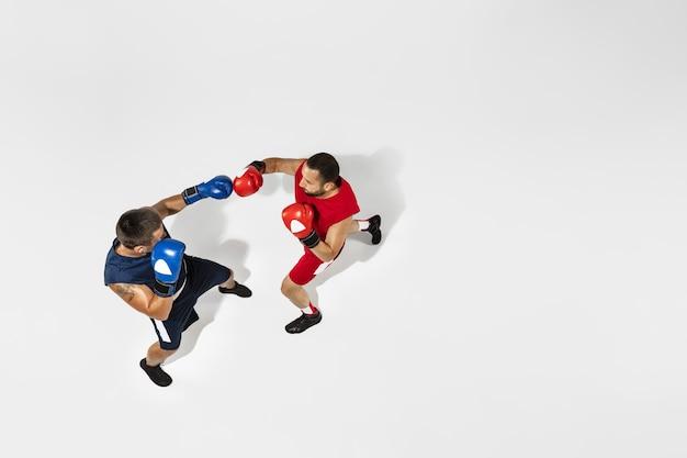 ホワイトスタジオの背景、アクション、トップビューで分離された2つのプロのボクサー。戦闘フィットの白人白人選手のカップル。