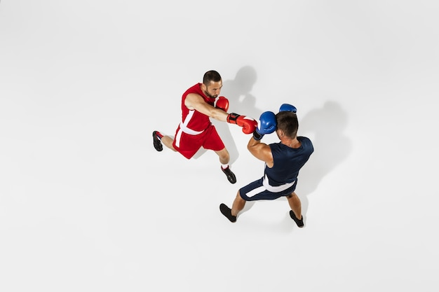 Two professional boxers boxing isolated on white studio background, action, top view. couple of fit muscular caucasian athletes fighting.