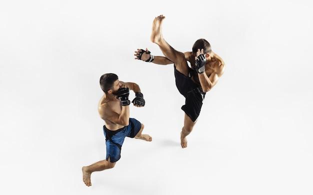 Два профессиональных бойца мма боксируют, изолированные на белой стене студии