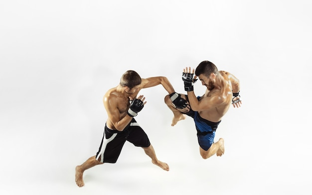 Two professional mma fighters boxing isolated on white studio.