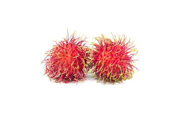 흰색 배경에 고립 된 두 개의 람부탄 과일