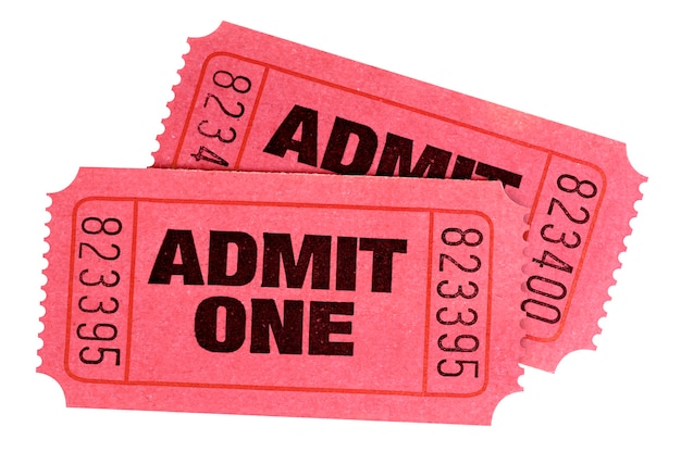 Two red admit one tickets isolated white background.