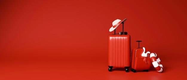 여행용 액세서리가 빨간색으로 표시된 두 개의 빨간색 수하물
