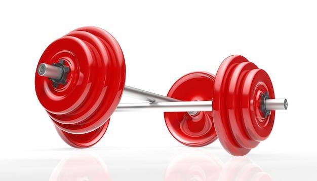 Пересечение двух красных штанг для фитнеса и упражнений.