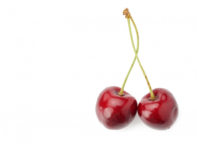 Two red connected sweet cherries isolated on a white background, tasty and ripe fruit, copy space
