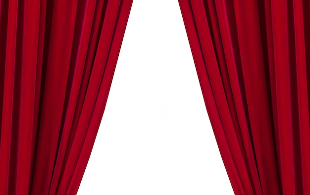 Two red curtains on the white background