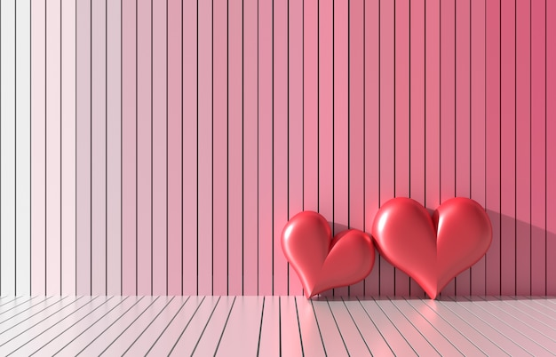 Two red heart on bright colors and variety wood walls. love on valentine`s day. 3d render