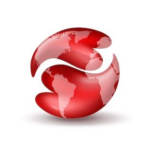 Два красных сердца в форме символа инь-янь с картой мира