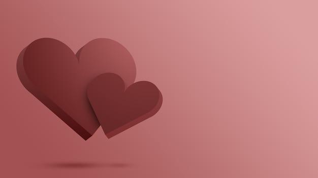 Два красных сердца, концепция дня святого валентина