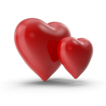 Two red hearts for valentines day