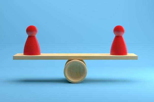 青い背景の上に木製のシーソーでバランスをとる2つの赤いポーンフィギュア。 3dレンダリング