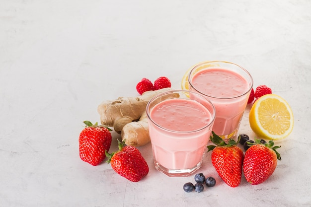 Two red smoothies