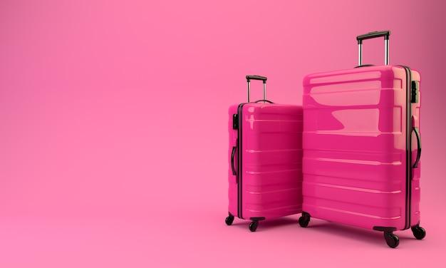 분홍색 벽에 두 개의 빨간 가방입니다. 3d 렌더링 그림.