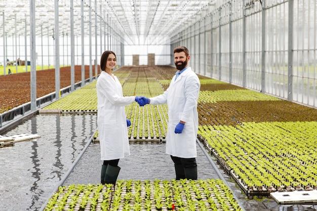 Два исследователя в лабораторных халатах ходят вокруг теплицы и встряхивают друг другу руки