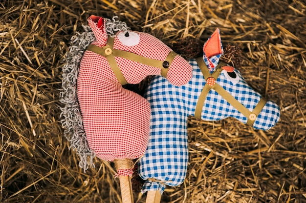Two retro cotton fabric horse toy on a stick lying on the hay. red and blue checkered horses toys for children's games or puppet theater. vintage rustic background.