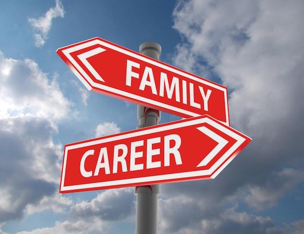 두 개의 도로 표지판 - 가족 또는 직업 선택