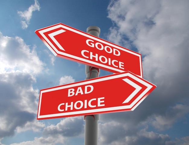 두 개의 도로 표지판 - 좋은 선택과 나쁜 선택