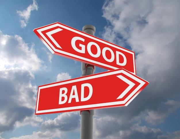 두 개의 도로 표지판 - 좋은 선택 또는 나쁜 선택