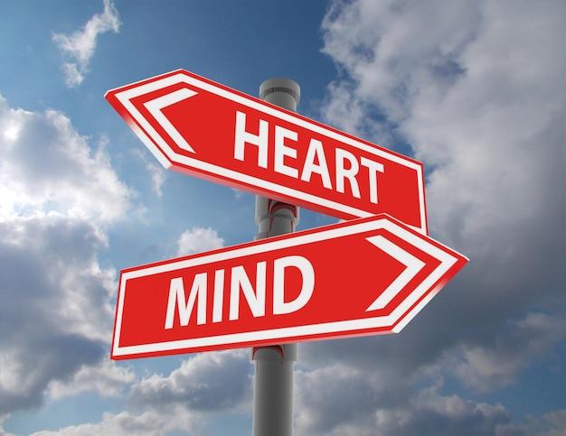 두 개의 도로 표지판 - 마음 또는 마음 선택