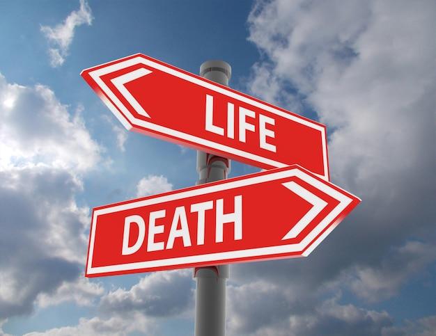 두 개의 도로 표지판 - 삶의 죽음 선택