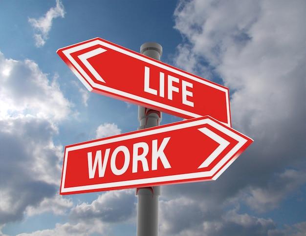 두 개의 도로 표지판 - 삶 또는 직장 선택