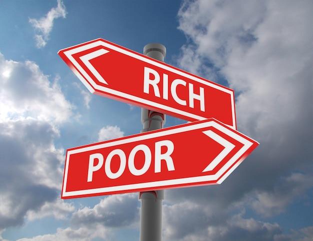 두 개의 도로 표지판 - 부자 또는 가난한 선택