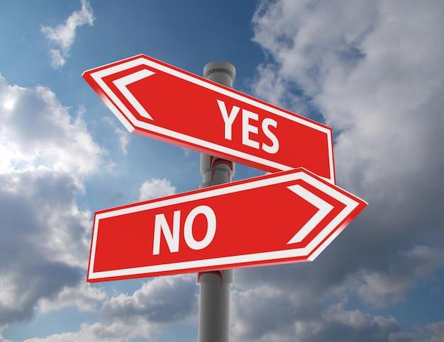 두 개의 도로 표지판 - 예 또는 아니오 선택