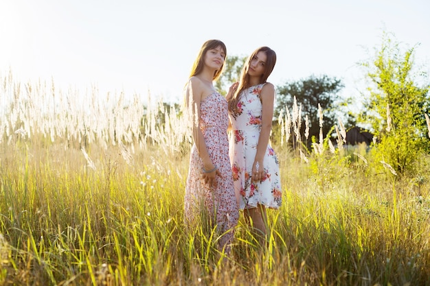 두 낭만적인 여자 자매 형제는 꽃무늬 드레스를 입고 긴 풀밭에 머물고 있습니다.