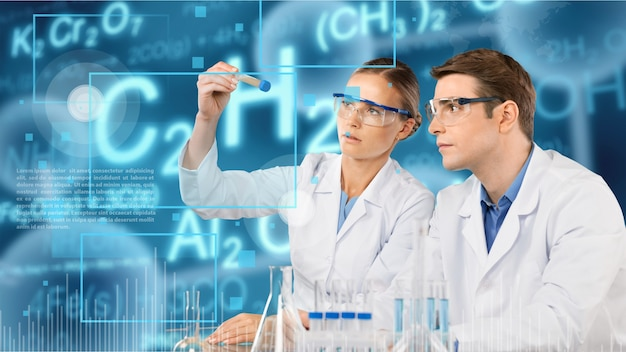 Two scientists conducting research in a lab environment