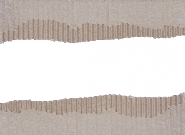 Two scraps of torn corrugated cardboard background