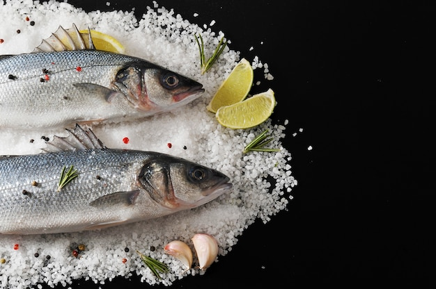 Two seabass fish on salt with with lemon, lime, rosemary and spices